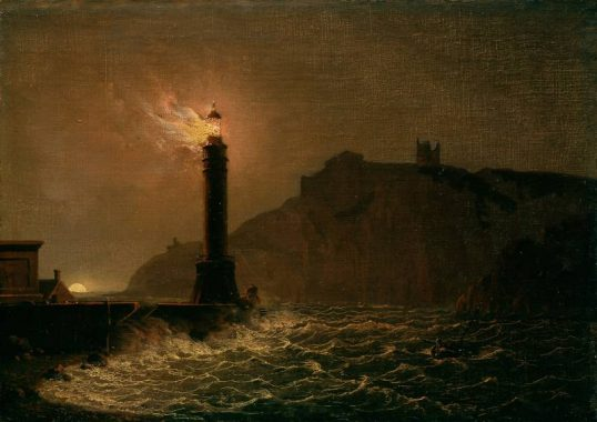 A lighthouse on fire at night - Joseph Wright of Derby