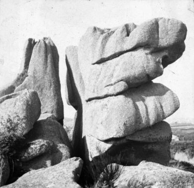 Black and white glass lantern slide of rocks at Ploumanach [1936] by Eileen Agar 1899-1991