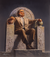Isaac Asimov dessiné par Rowena Morrill (artiste, illustratrice de science-fiction et de fantasy)
