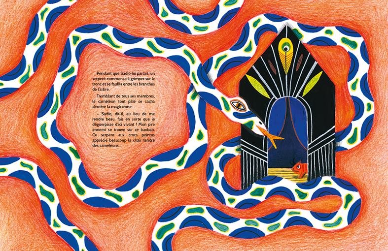 illustration Magali Attiogbé Souleymane Mbodj Le caméléon qui se trouvait moche