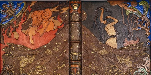 Victor Prouvé, reliure de l'édition 1893 de Salammbô, musée de l'école de Nancy (photo : Studio Image)